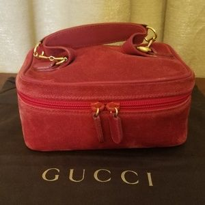 Gucci Red Suede Cosmetic Bag Vanity Train Case
